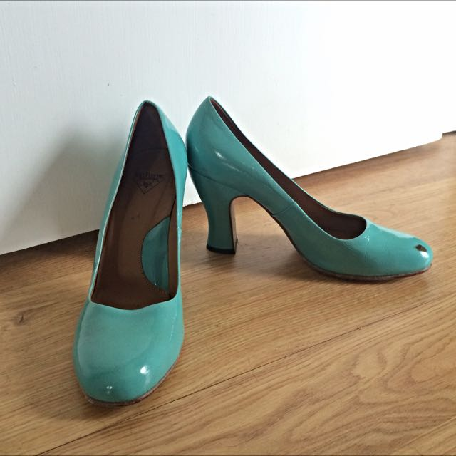 Fluevogs Medugorje In Turquoise Patent Leather