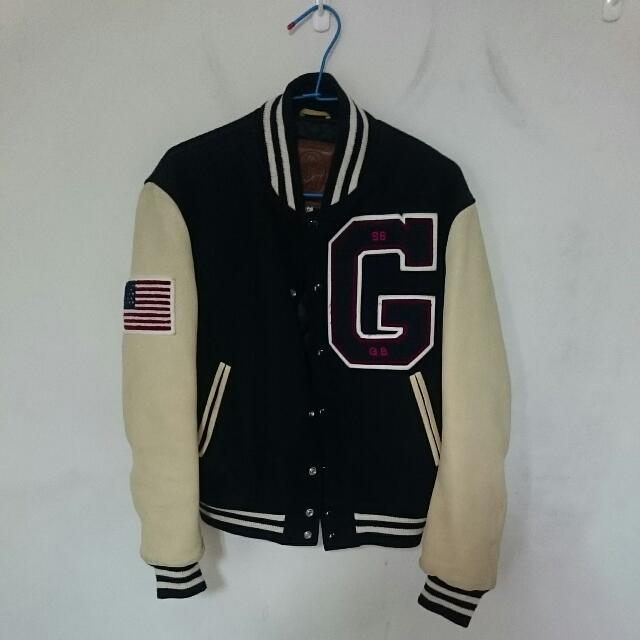 Goldenbear 金熊 牛皮袖棒球外套 古著老品 M號
