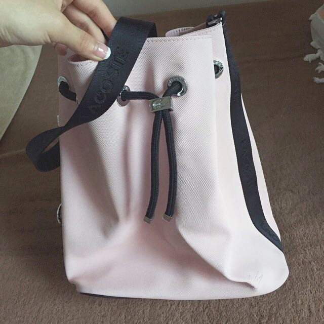 Lacoste 粉紅色絕版PVC水桶包