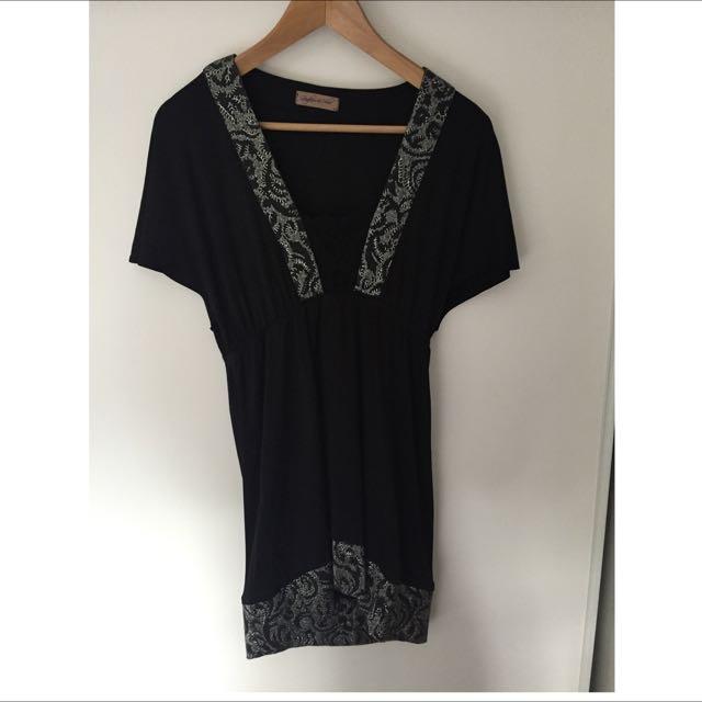 Little Black Dress With Sparkle Trim