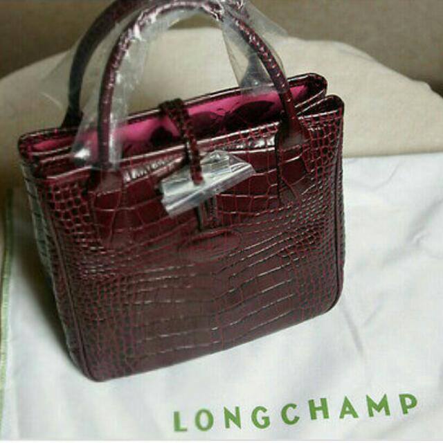 Longchamp Roseau Croco Mini Shopper Maroon, Women's Fashion, Bags ...
