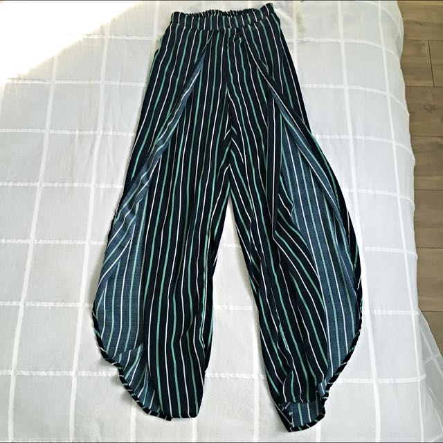 Navy Pants With Strips And Splits