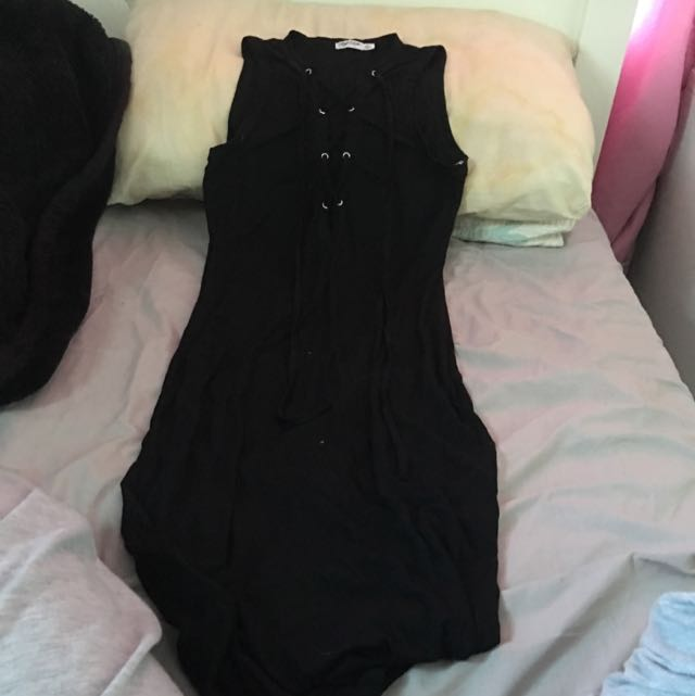 Paper Scissors Lace Up Body Tight Dress