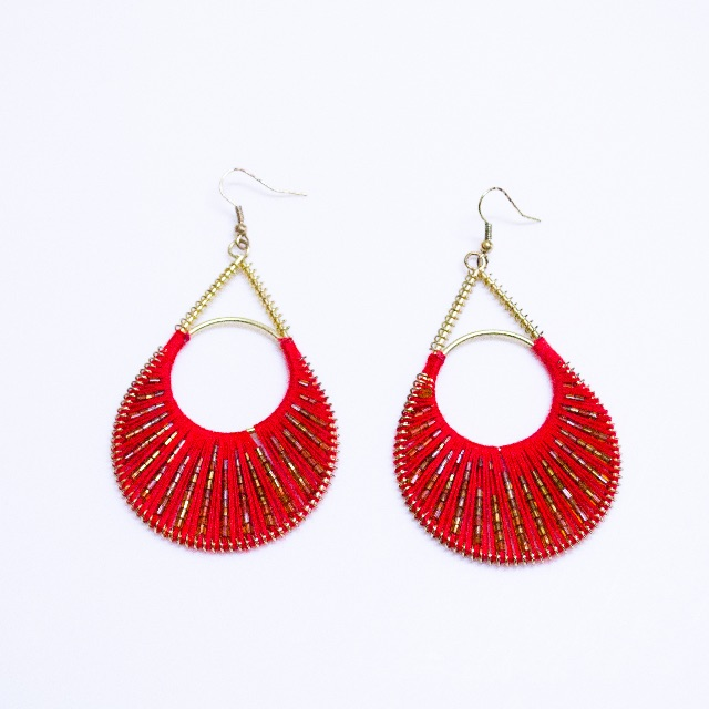 Red Thread & Gold Beaded Earrings