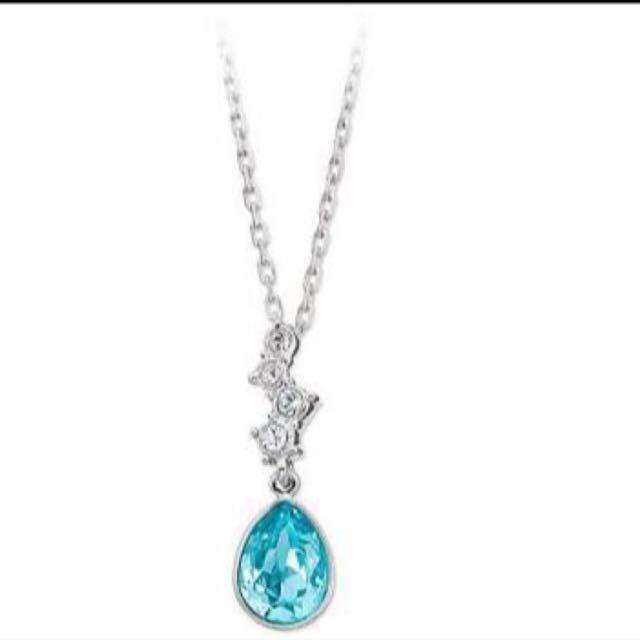 Swarovski Aqua Blue Crystal JEWELRY TENZIA Pendant Necklace