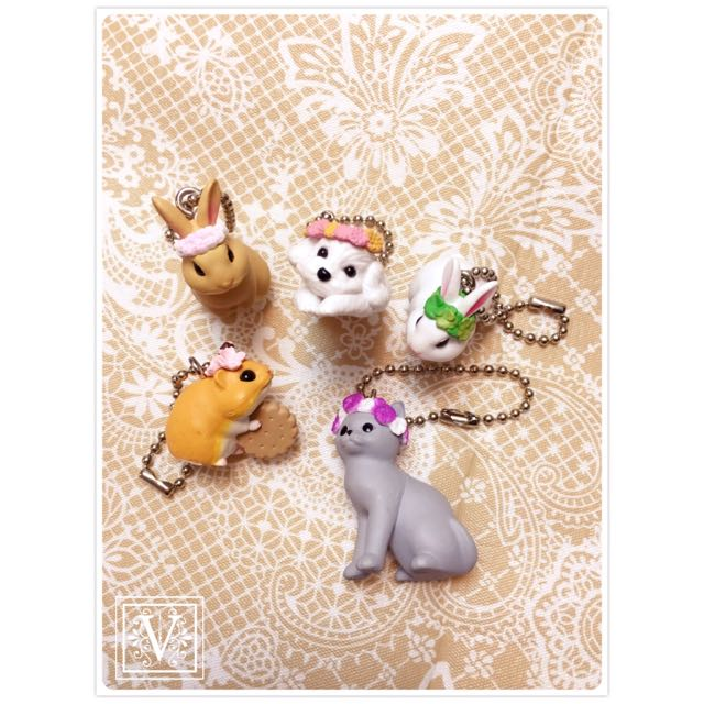 V|T ☆ 日本 花冠 花圈 動物 瑪爾濟斯 藍貓 花栗鼠 兔子 轉蛋 ☆