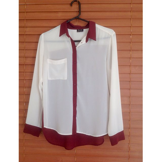 White & Maroon Blouse
