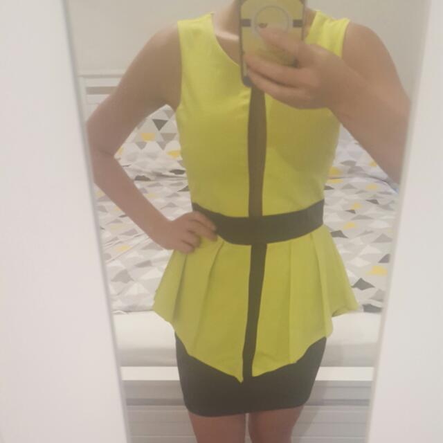 Yellow/green & Black Layered Dress