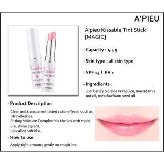 ✨A'PIEU✨ kissable tint stick spf14/pa+ (magic)