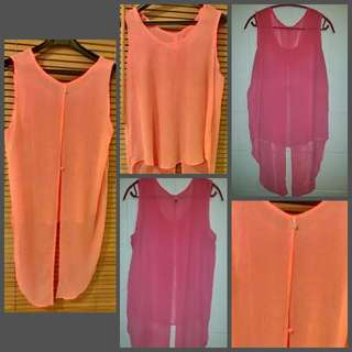 Sheer Neon Pink Mullet Top Size L