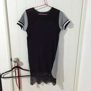 Dress With Lace Underlay