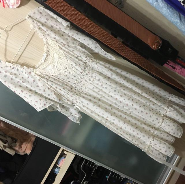 0918碎花雪紡短袖洋裝