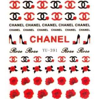 CHANEL RED BLACKNAIL WATER TRANSFER STICKER DECAL
