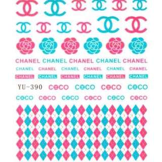 CHANEL LUXURY NAIL WATER DECAL TRANSFER NAILART