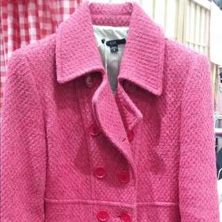 Cue Wool Hot Pink Coat Size 6