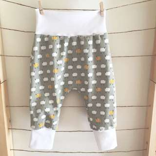 Yellow & Grey Sheep Baby Stretch Slouch Pants