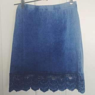 Lace Hem Suede Look Skirt