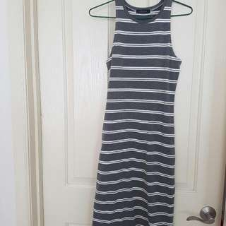 REDUCED Grey/white Striped Maxi Bodycon Size S