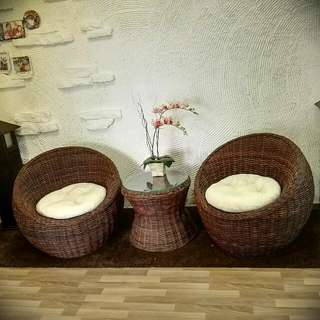 Round Rattan Chair + Table
