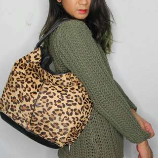 BCBG Leopard Tote In Pony Hair