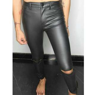 F21 Leather Ripped Pants