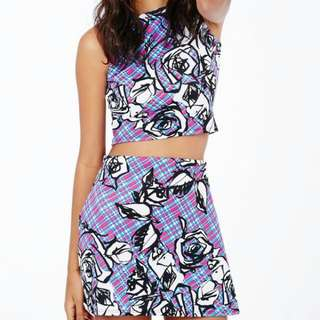 MISSGUIDED Floral Check Top & Skirt Co-ord