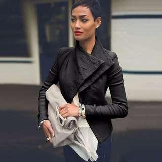 Womens Lapel PU Leather Coat Motorcycle Waterfall Windbreaker Blazer Jacket Tops
