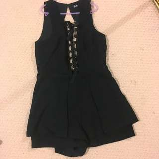 Black Lace Up Romper