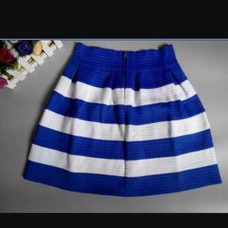Blue Stripped Bandage Skirt