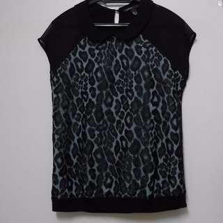 MANGO lace overlay mint top