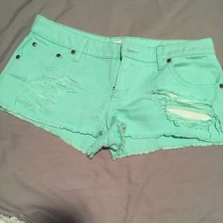 Size 10 Green Denim Torn Style Shorts