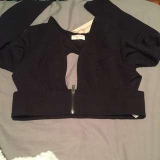 BNWT Black Crop Top Zip Up