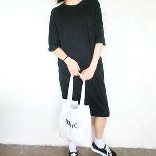 韓國黑色寬鬆七分袖捲邊長裙