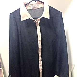 Black blouse button up