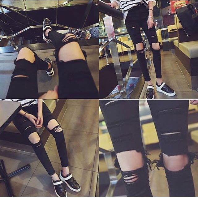 韓版時尚破膝褲