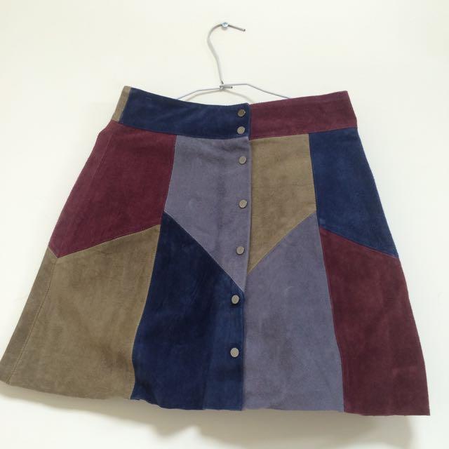 麂皮拼接短裙