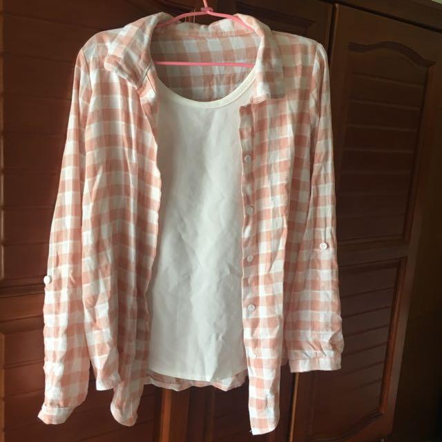 假兩件粉色格子襯衫