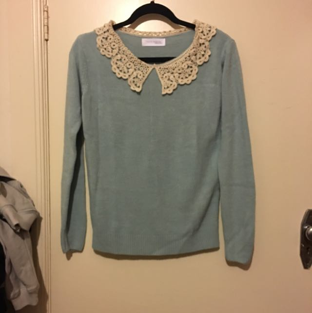 Baby Blue Knit Top - Lace Collar