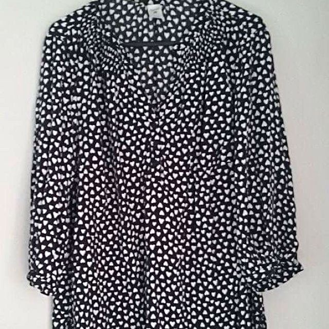 Black And White Heart Blouse