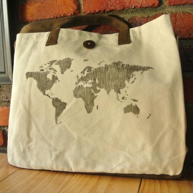 Canvas tote bag world map drawings a3 size design craft on carousell gumiabroncs Choice Image