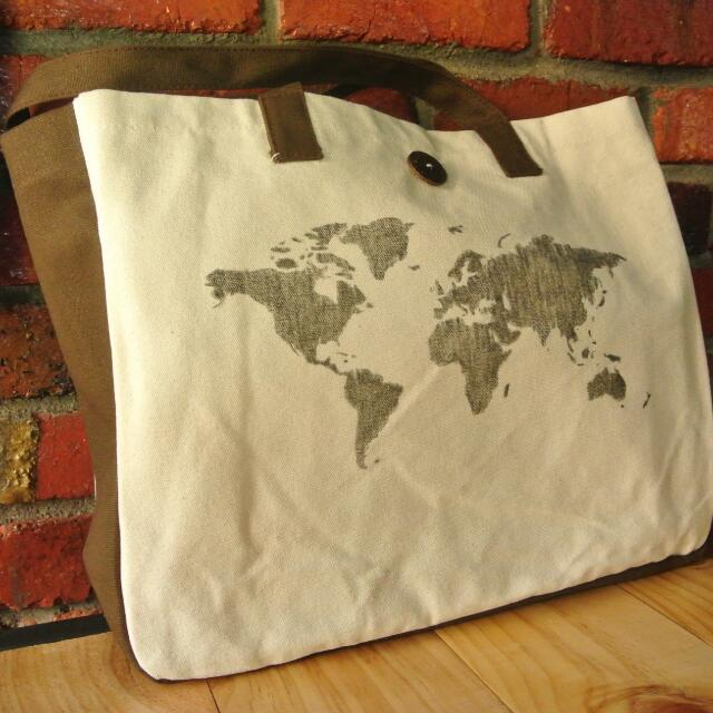 Canvas tote bag world map drawings a3 size design craft on carousell photo photo gumiabroncs Choice Image