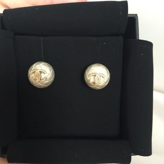 Chanel 菱格珍珠耳環 專櫃購買附購證