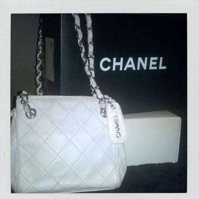 Chanel White Leather
