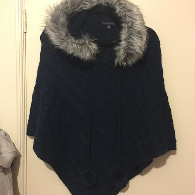 Forever New Navy Knit Cape