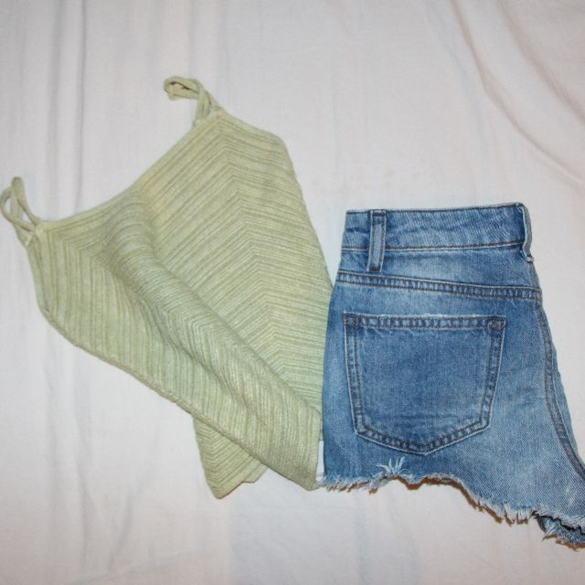 Green Knitted Crop