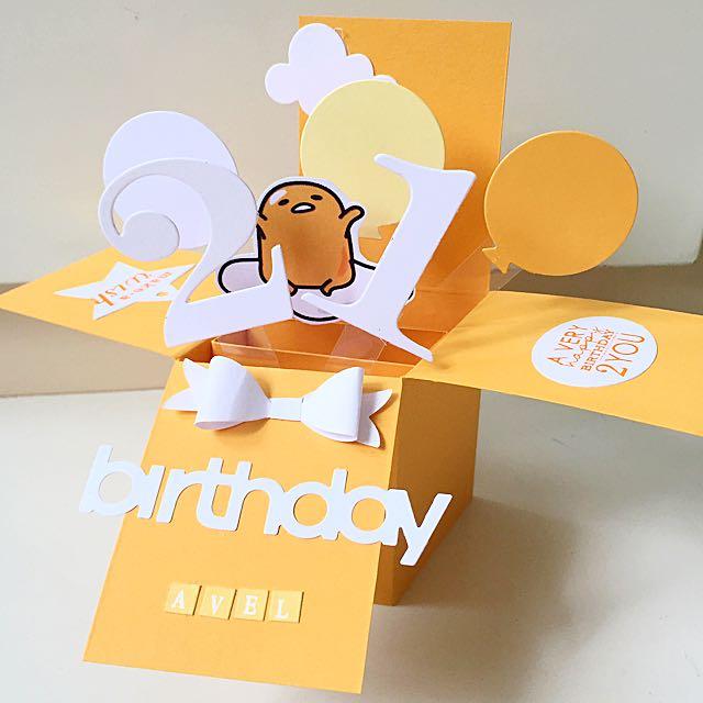 Happy 21st Birthday Handmade Gudetama Pop Up Card Design Craft On