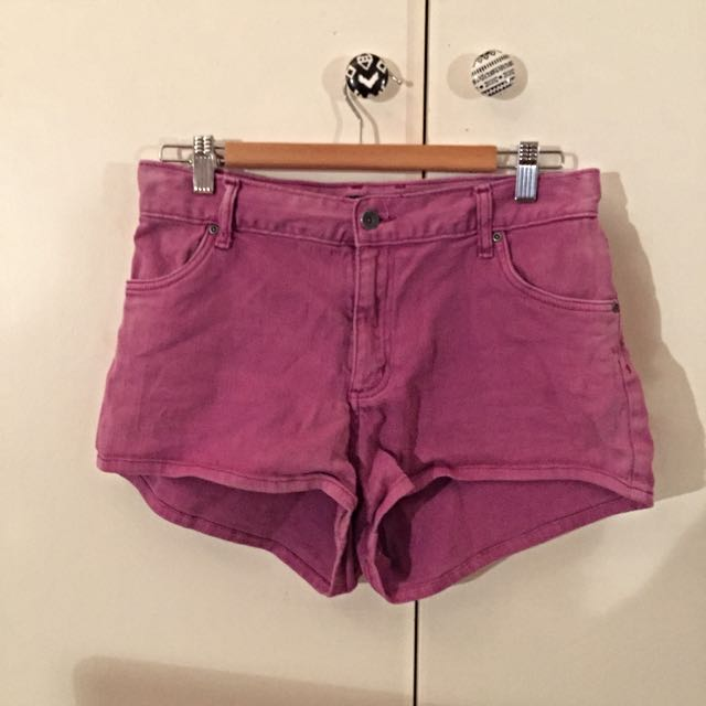 High Wasted Purple Denim Shorts