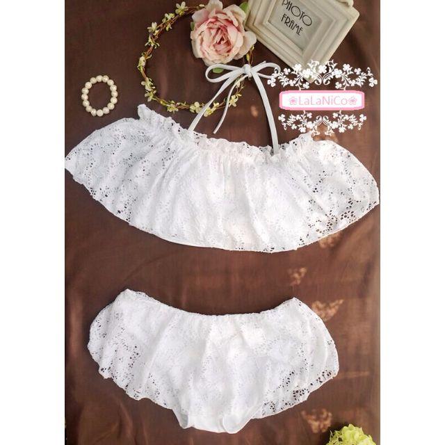 ❤LaLaNiCo❤日系✿可愛蕾絲款荷葉邊蛋糕褲比基尼泳衣