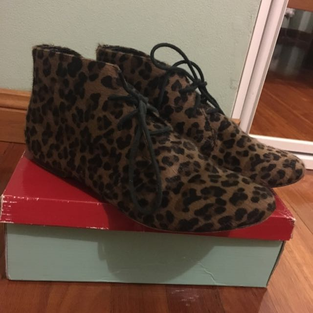 Leopard Lace Up Ankle Boots