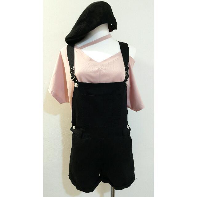 全新大口袋吊帶短褲(黑)(M號)